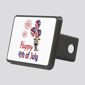 Happy 4th Doggy with Balloons Hitch Cover